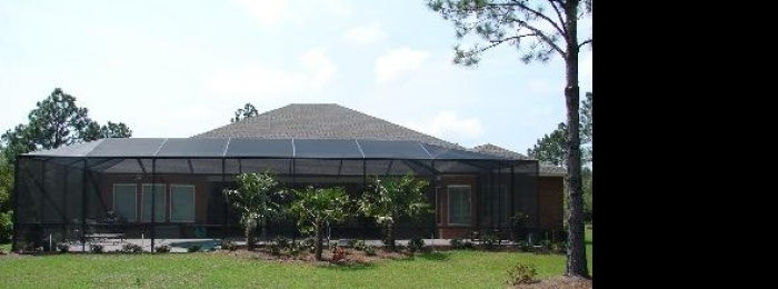 mansard, kickplate, self-latching, screen pool enclosure, pool cage, pool screen, daphne, alabama