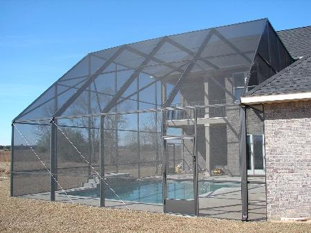 2 story enclosure, pool cage, pool screen